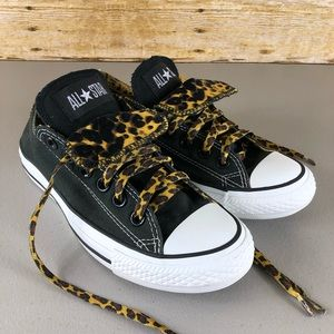 Converse Black and Cheetah Double Tongue Converse